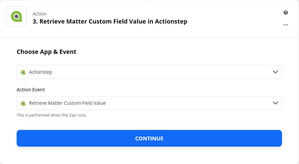 Retrieve Matter Custom Field - Step 1