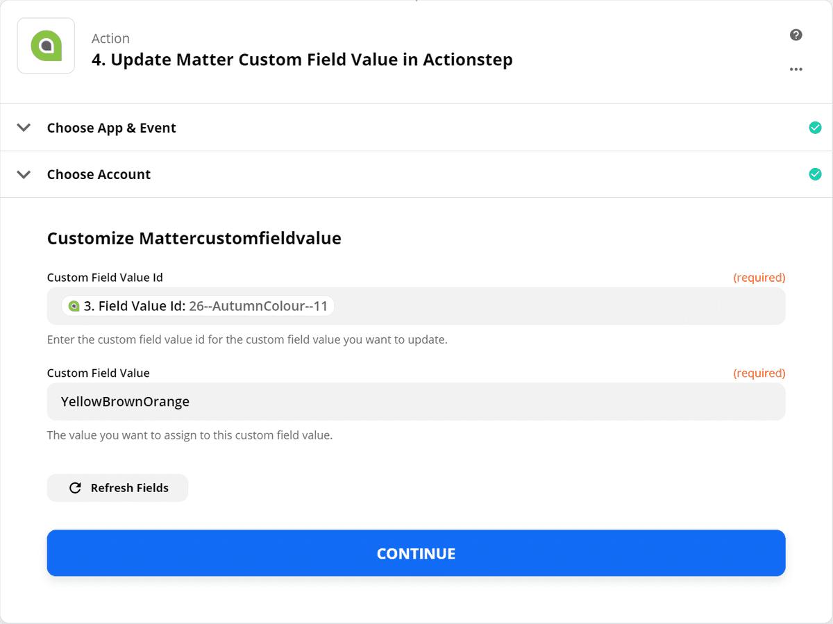 Update Matter Custom Field Value - Step 2