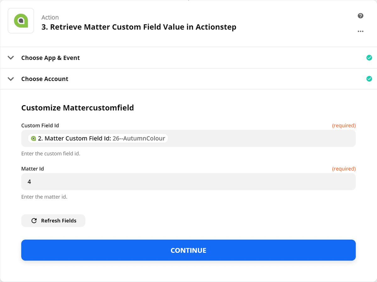 Retrieve Matter Custom Field - Step 2