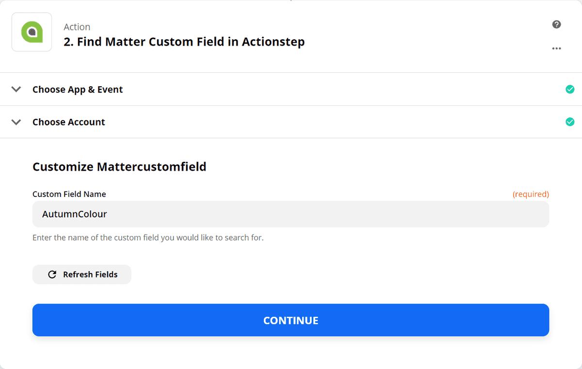 Find Matter Custom Field - Step 2